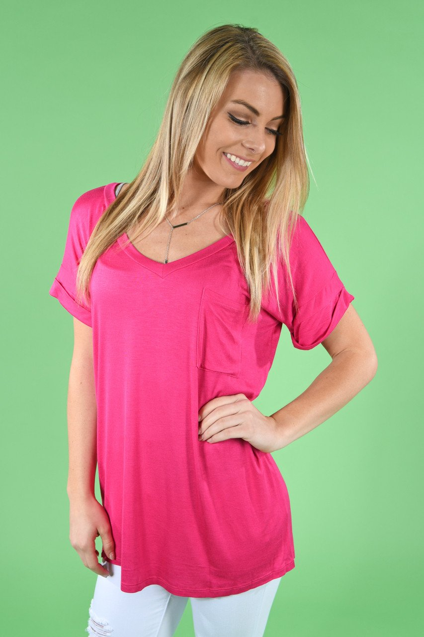 Hot Pink Essential V-Neck Top