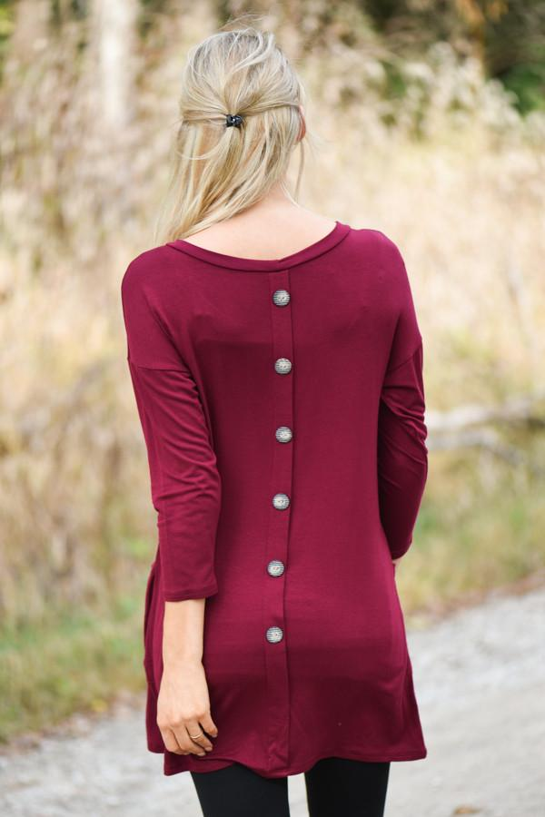 Burgundy Button Down Pocket Top