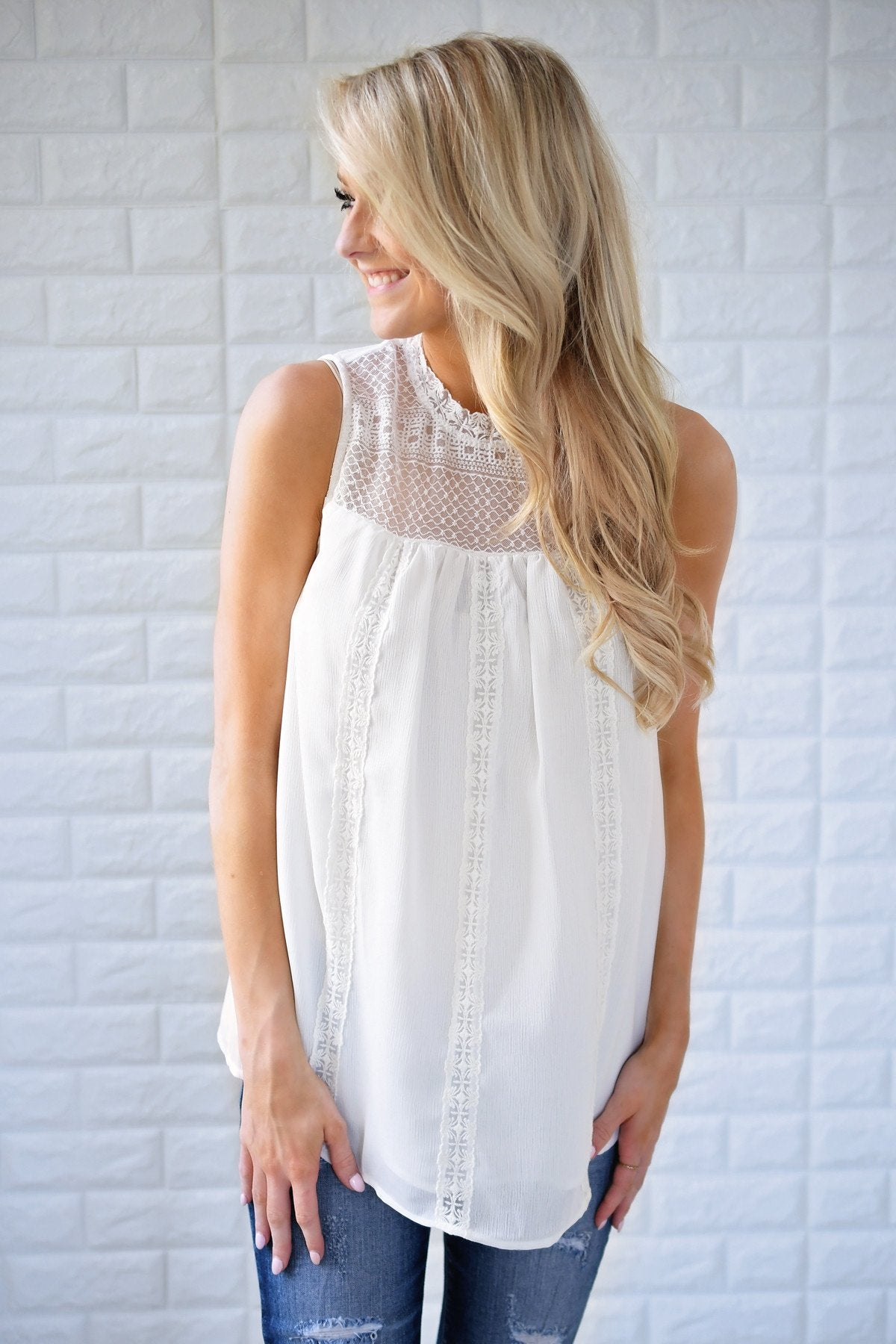 White Lace Tank Top