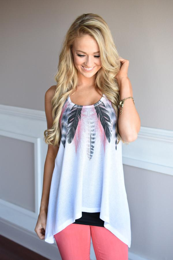 Birds of a Feather Tank ~ White