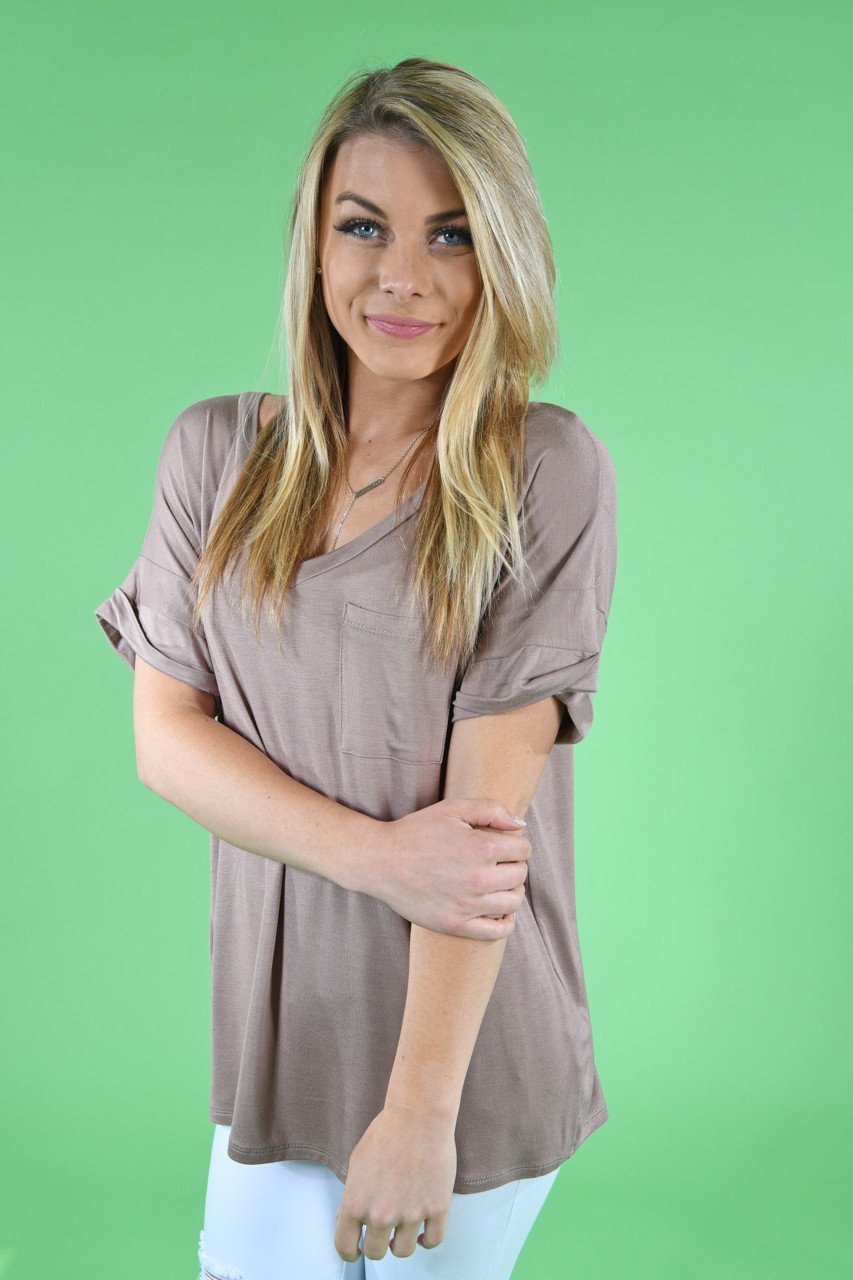 Mocha Essential V-Neck Top