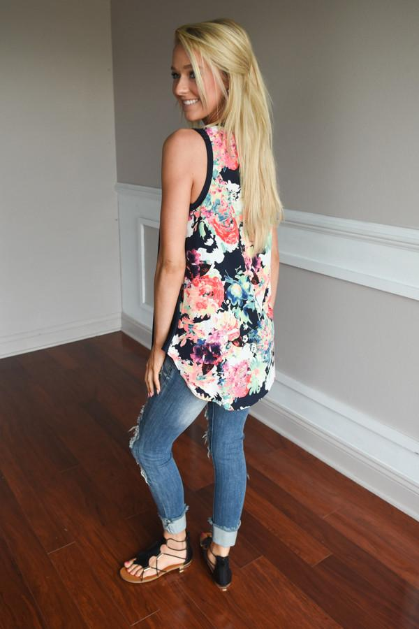 Don't Be Shy Floral Tank Top ~ Navy