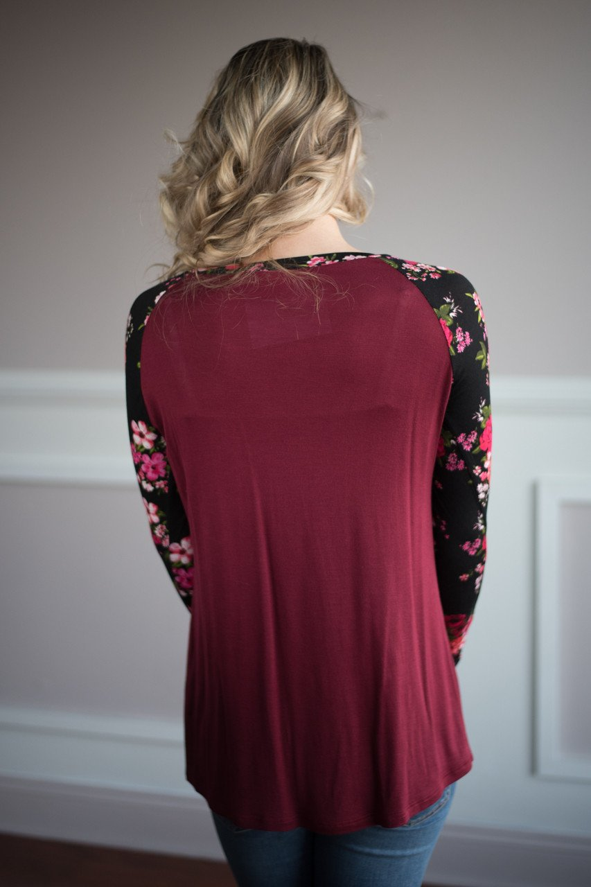 Long Sleeve Burgundy Floral Top