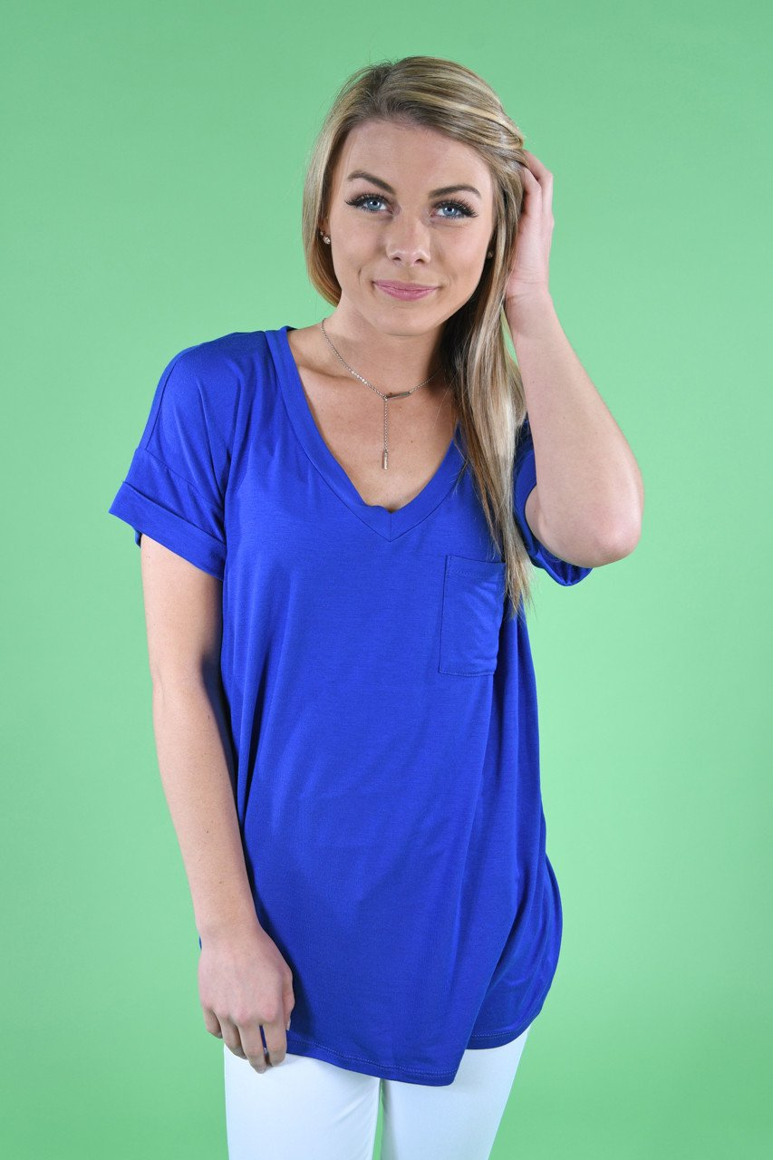 Royal Blue Essential V-Neck Top