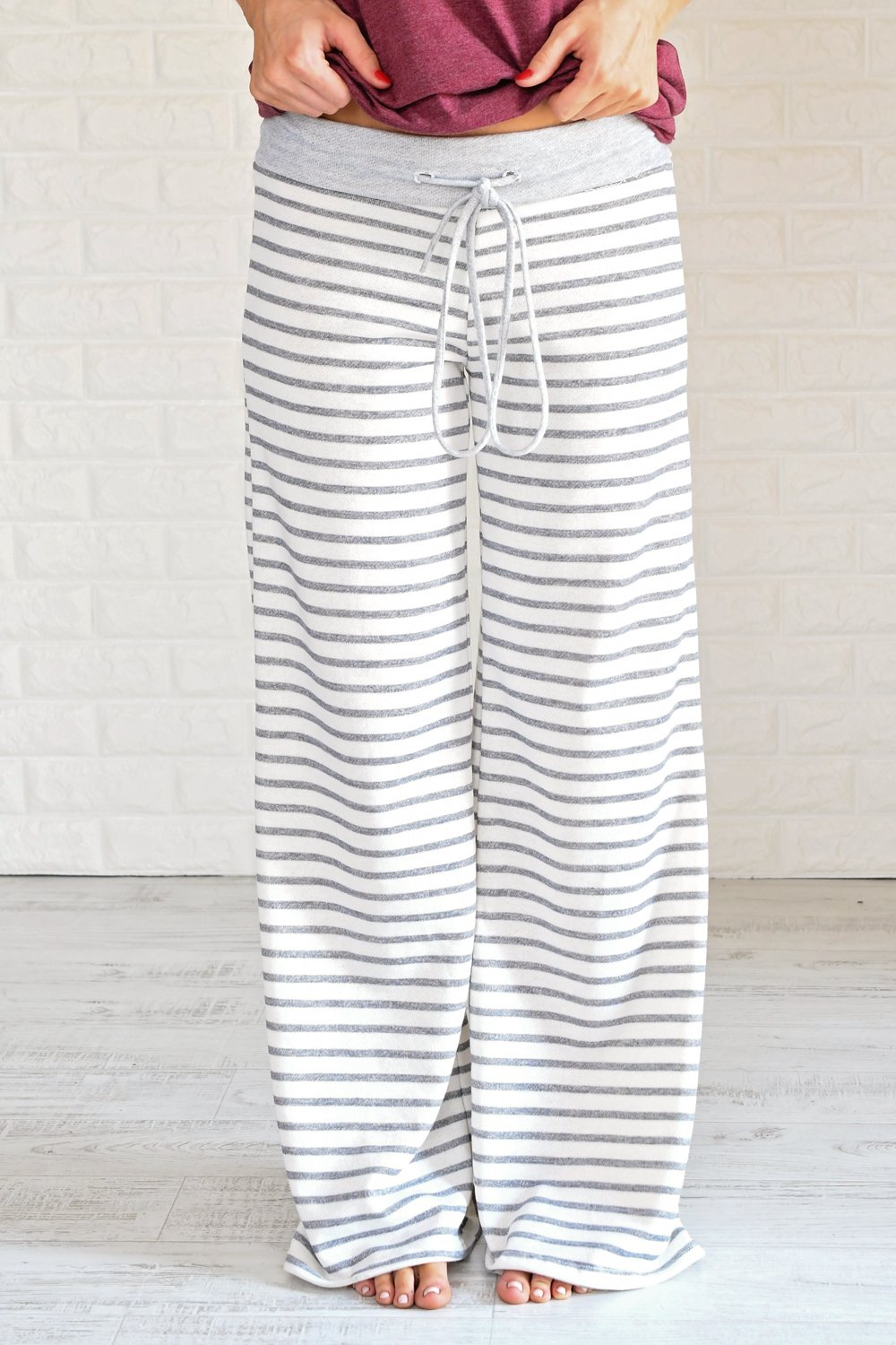 Grey Striped Lounge Pants