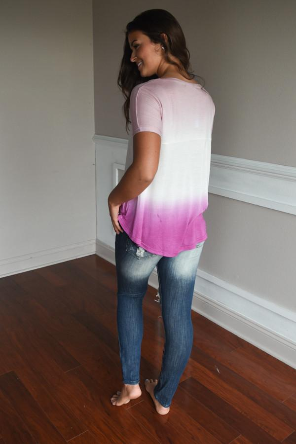 No Time for Talk Pink Ombre Top