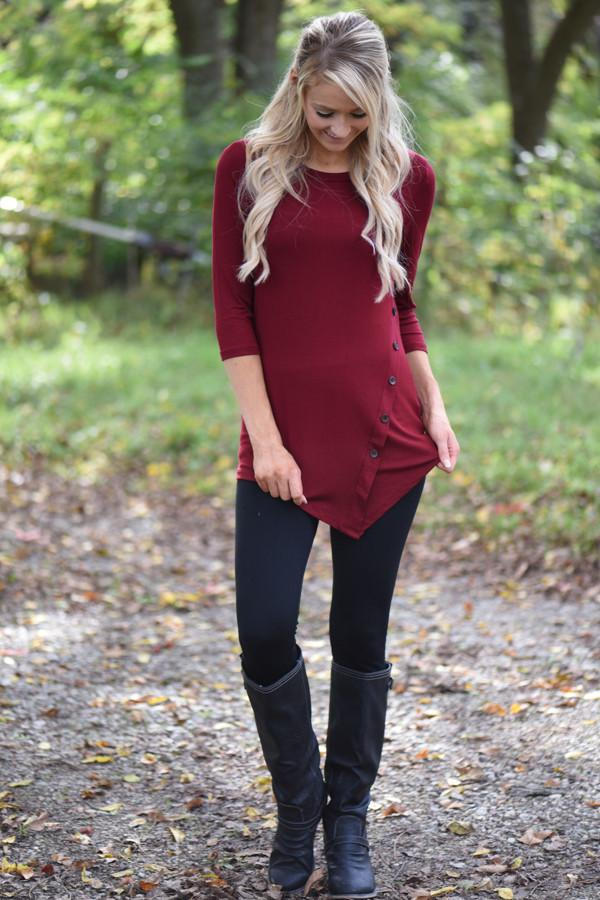 Baby I'm Yours Button Top - Burgundy
