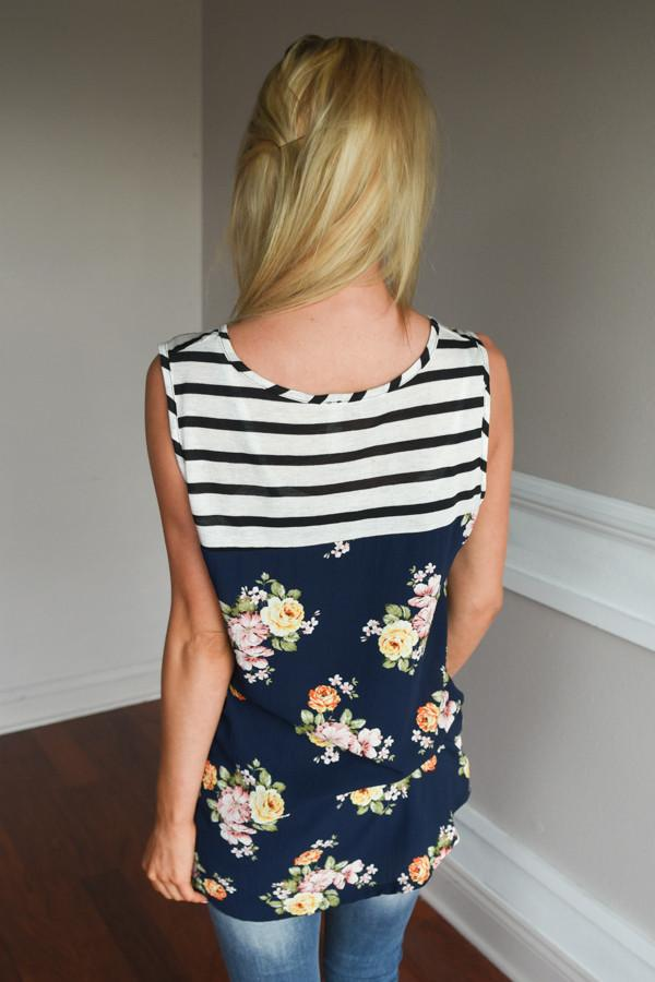 Navy & White Striped Floral