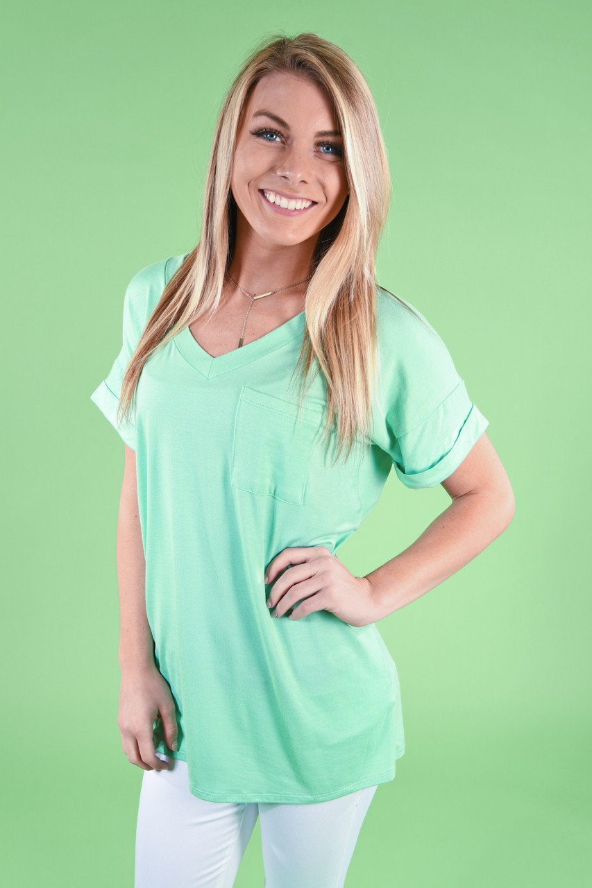 Mint Essential V-Neck Top