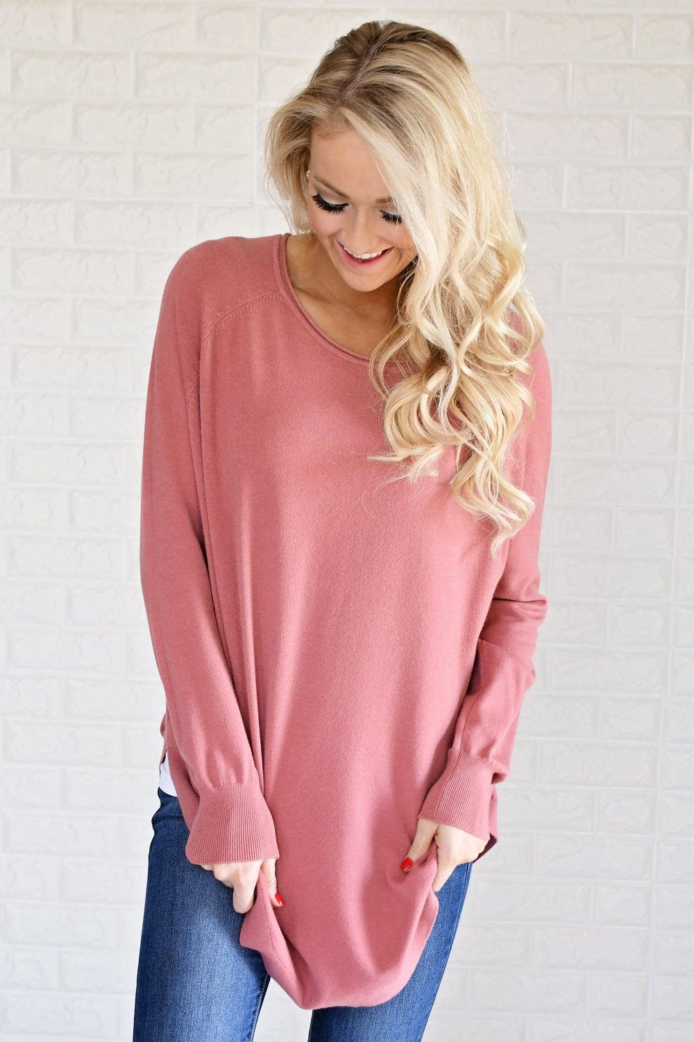 Cuddle Up Sweater ~ Soft Rose