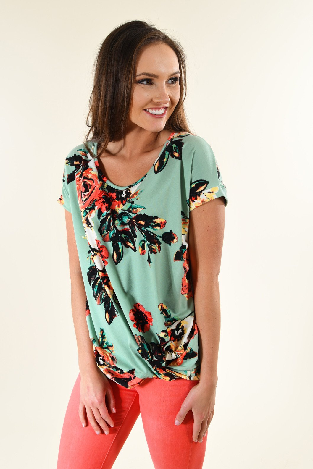 Watercolor Floral Knot Top ~ Mint