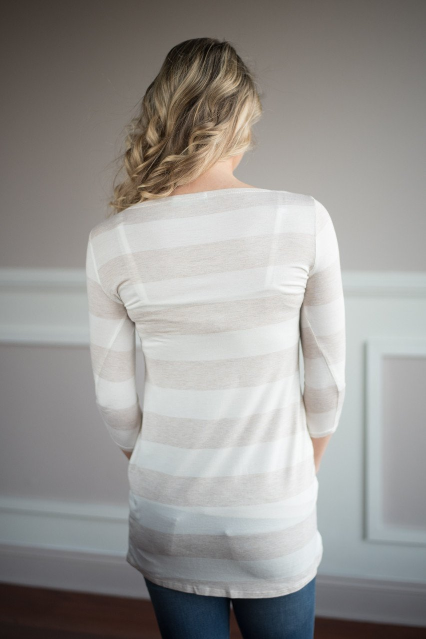Dainty & Sweet Striped Taupe Top