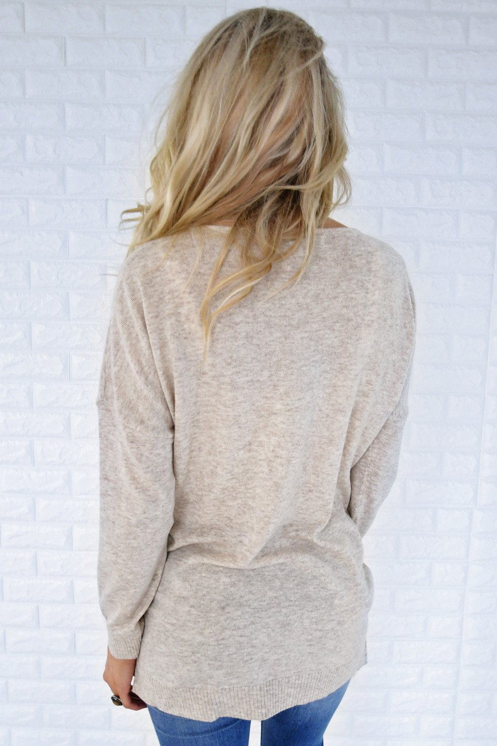 You Make My Dreams Sweater Top ~ Heathered Tan