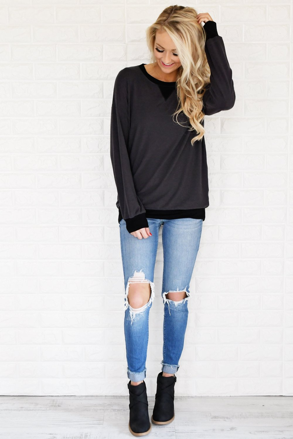 Fall for Cozy Top ~ Charcoal