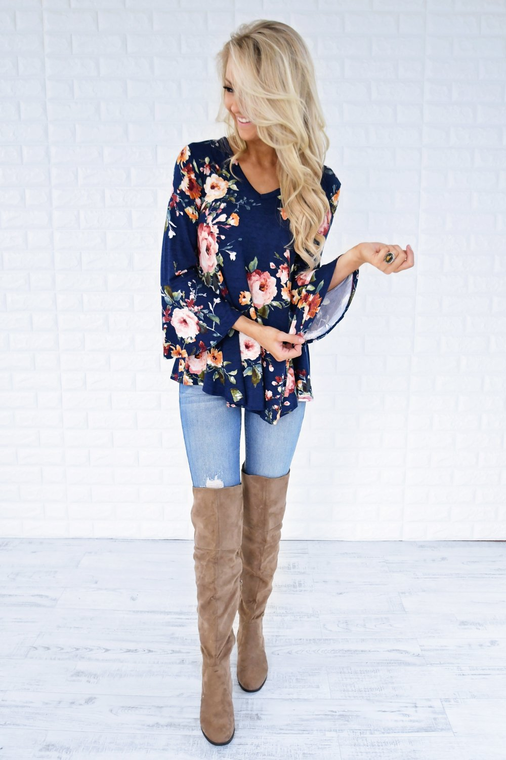 Southern Belle Floral Top ~ Navy