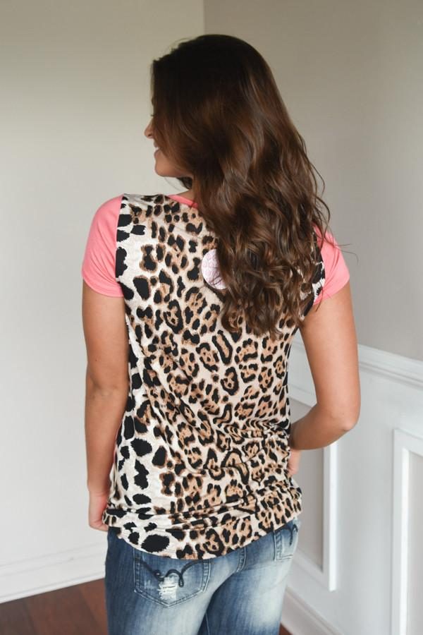 Leopard Pocket Top ~ Coral