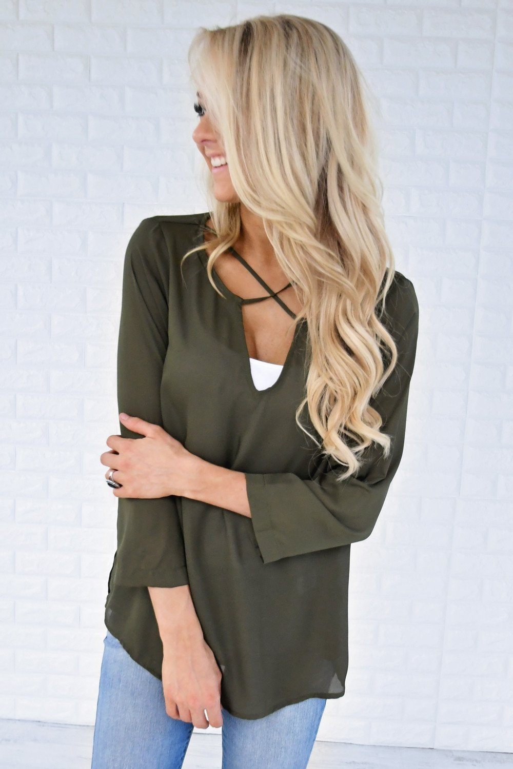 Olive Criss Cross Blouse