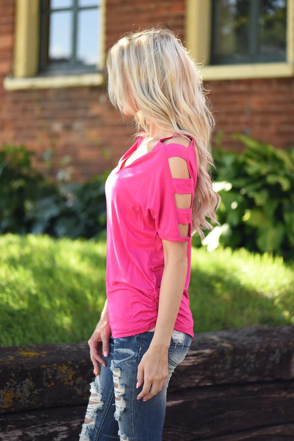 Give'm The Cold Shoulder ~ Hot Pink