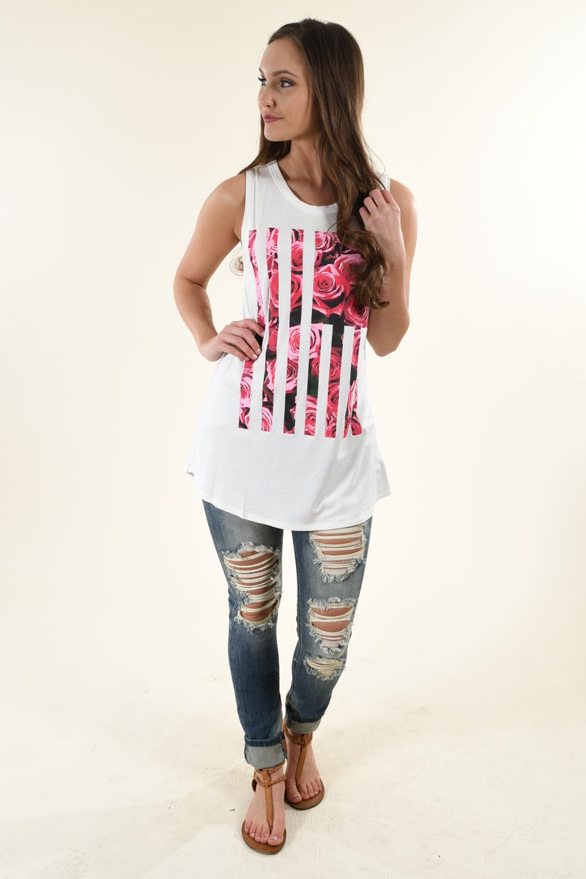 Ivory Floral Flag Tank Top