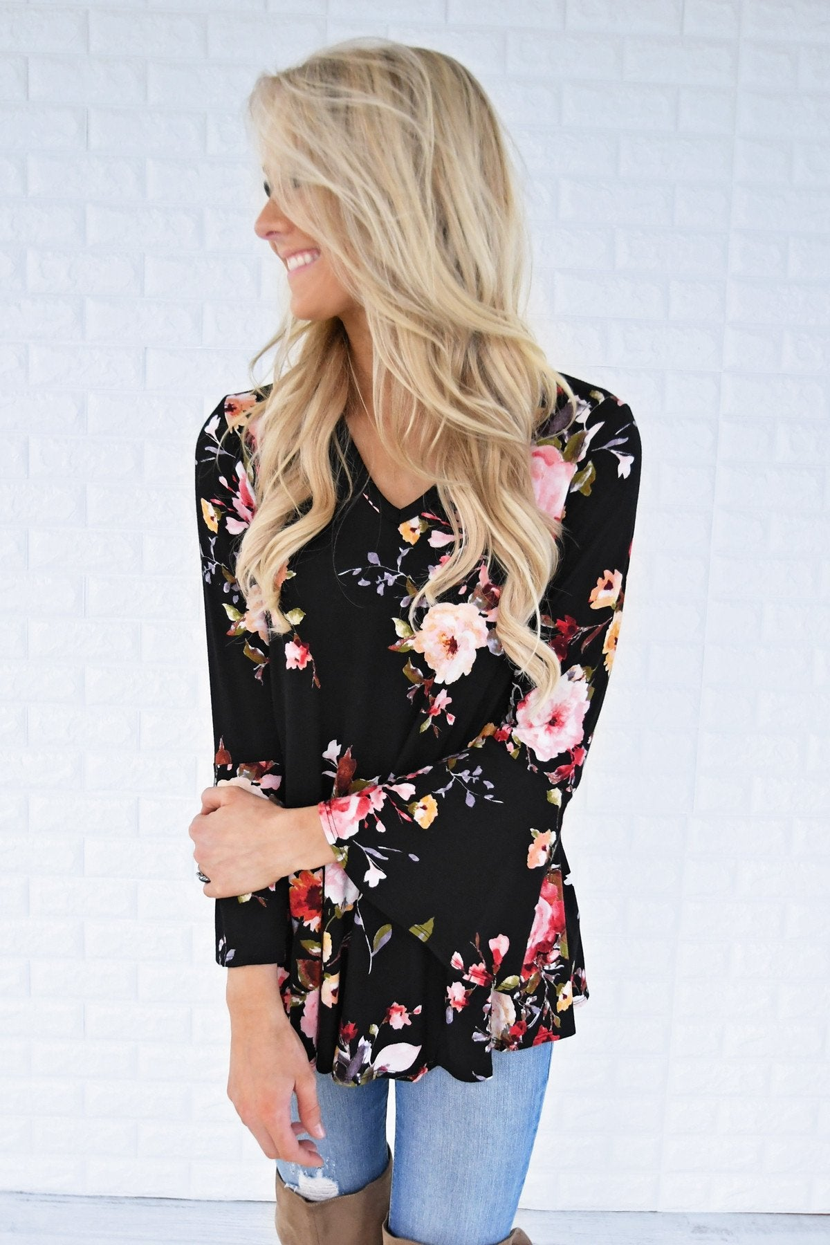 Southern Belle Floral Top in Black