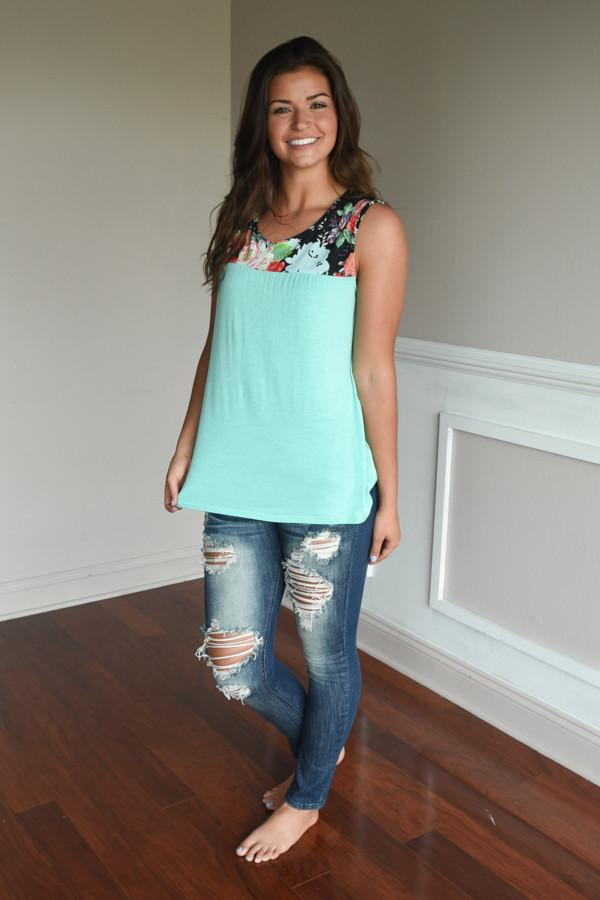 Summer Picnic Tank ~ Mint