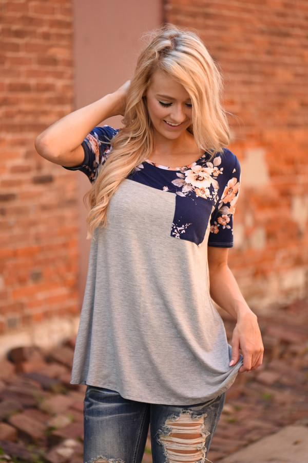 Daydreamer Navy Floral Top