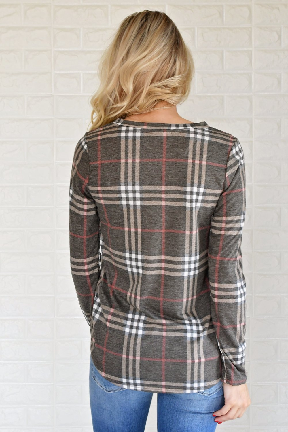 Perfectly Plaid Long Sleeve Top ~ Brown