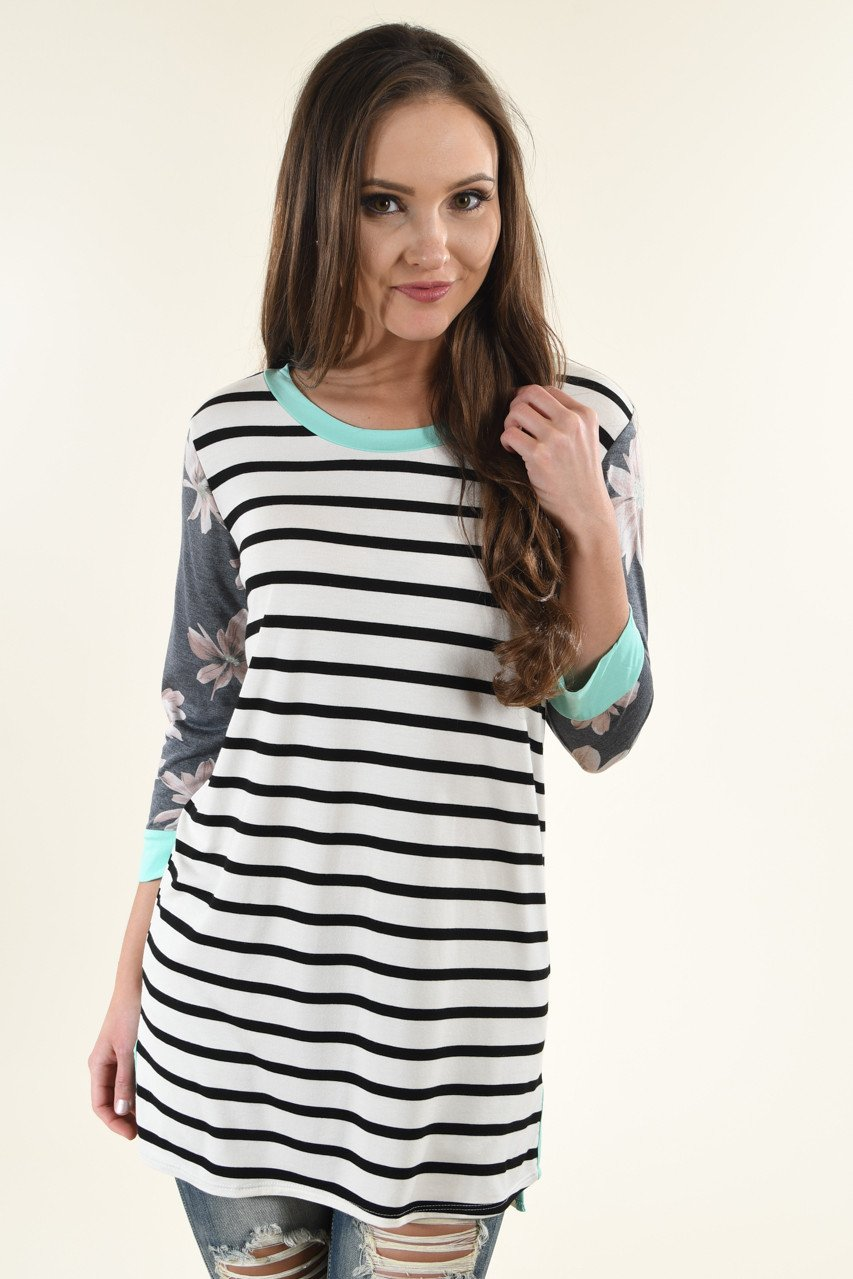 Drop On By Striped Top