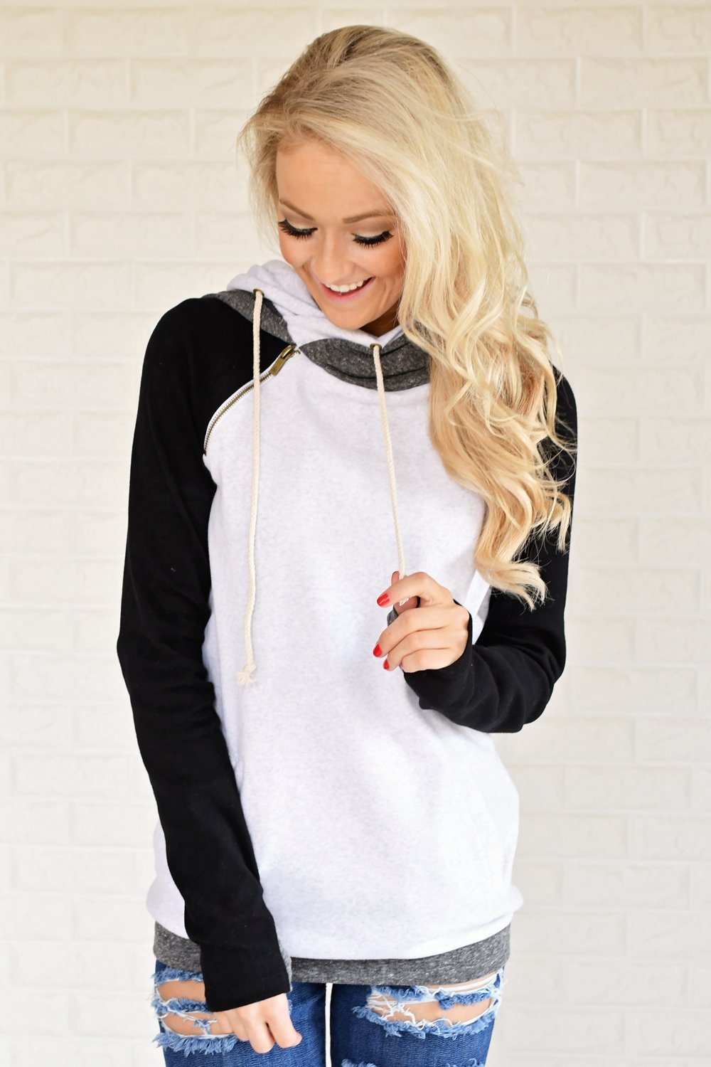 Ampersand Ave. Double Hooded Sweatshirt ~ Black & White