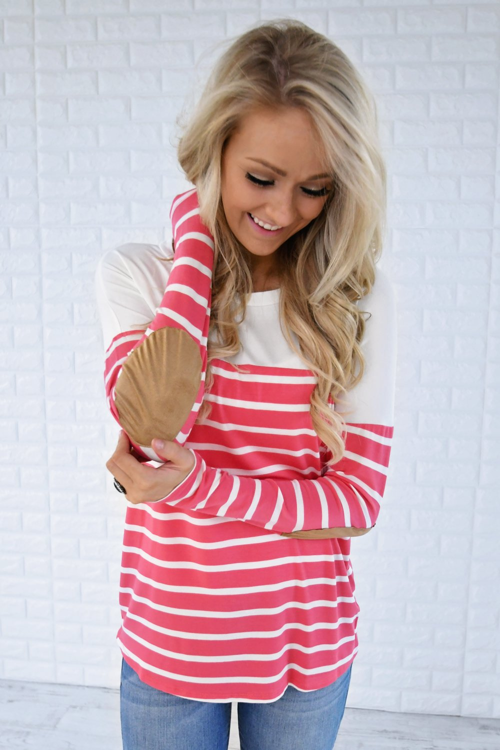 Long Sleeve Striped Top - Pink