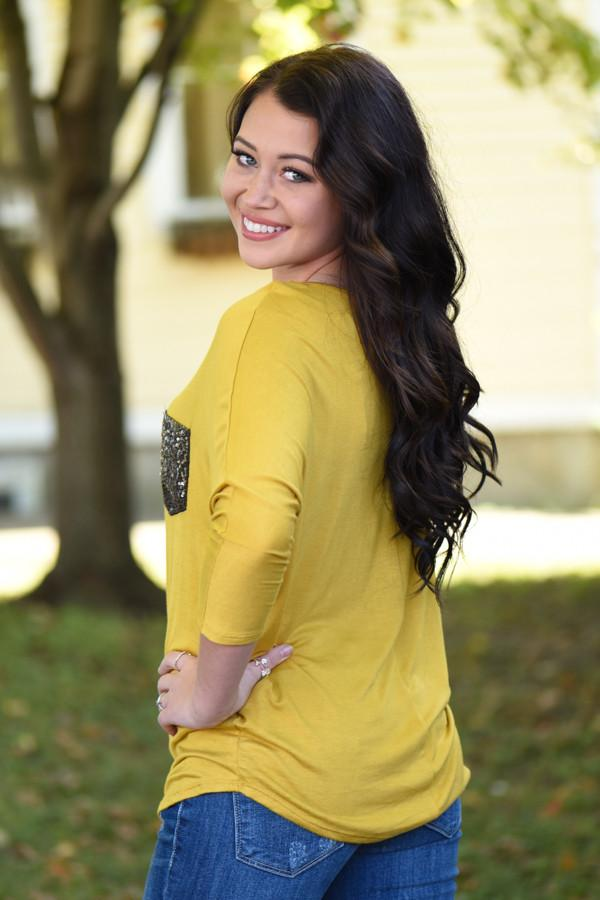 Glam Pocket Top - Mustard