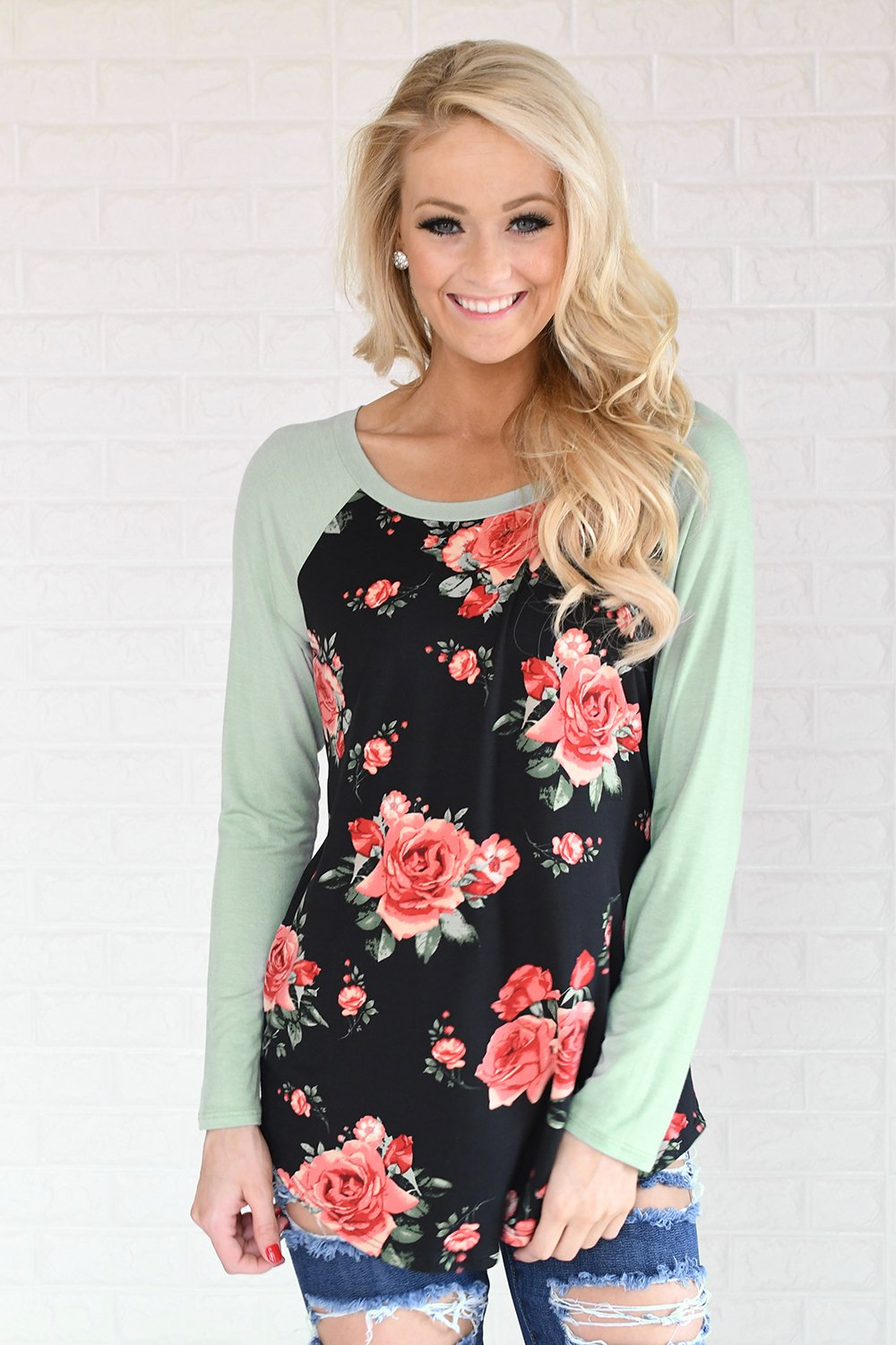 Happy in Floral Baseball Tee ~ Mint