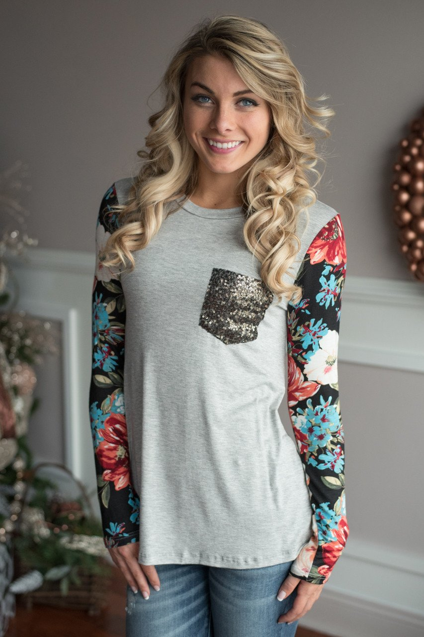Floral Glam Top ~ Grey