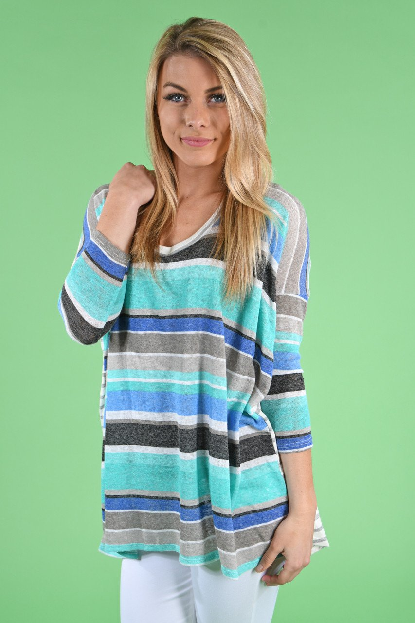 Mint & Navy Striped Top