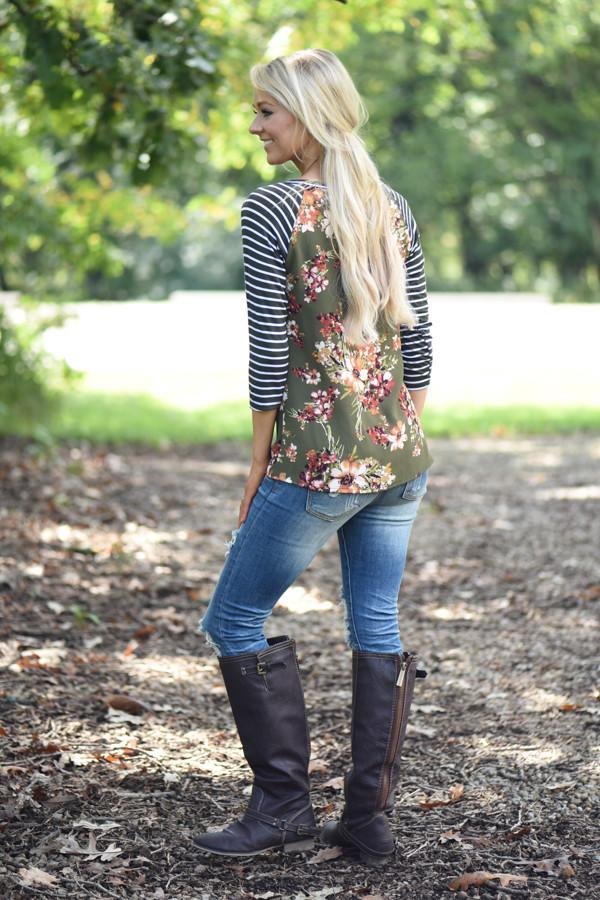 Olive Floral Top w/Striped Sleeves