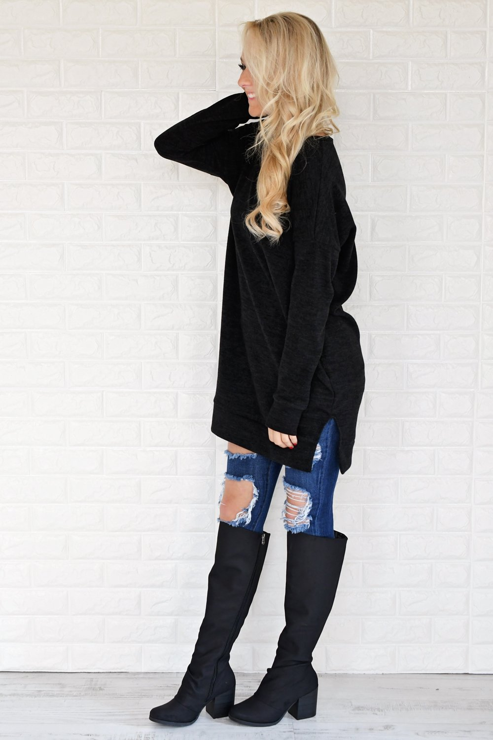 Black V-Neck Tunic Top