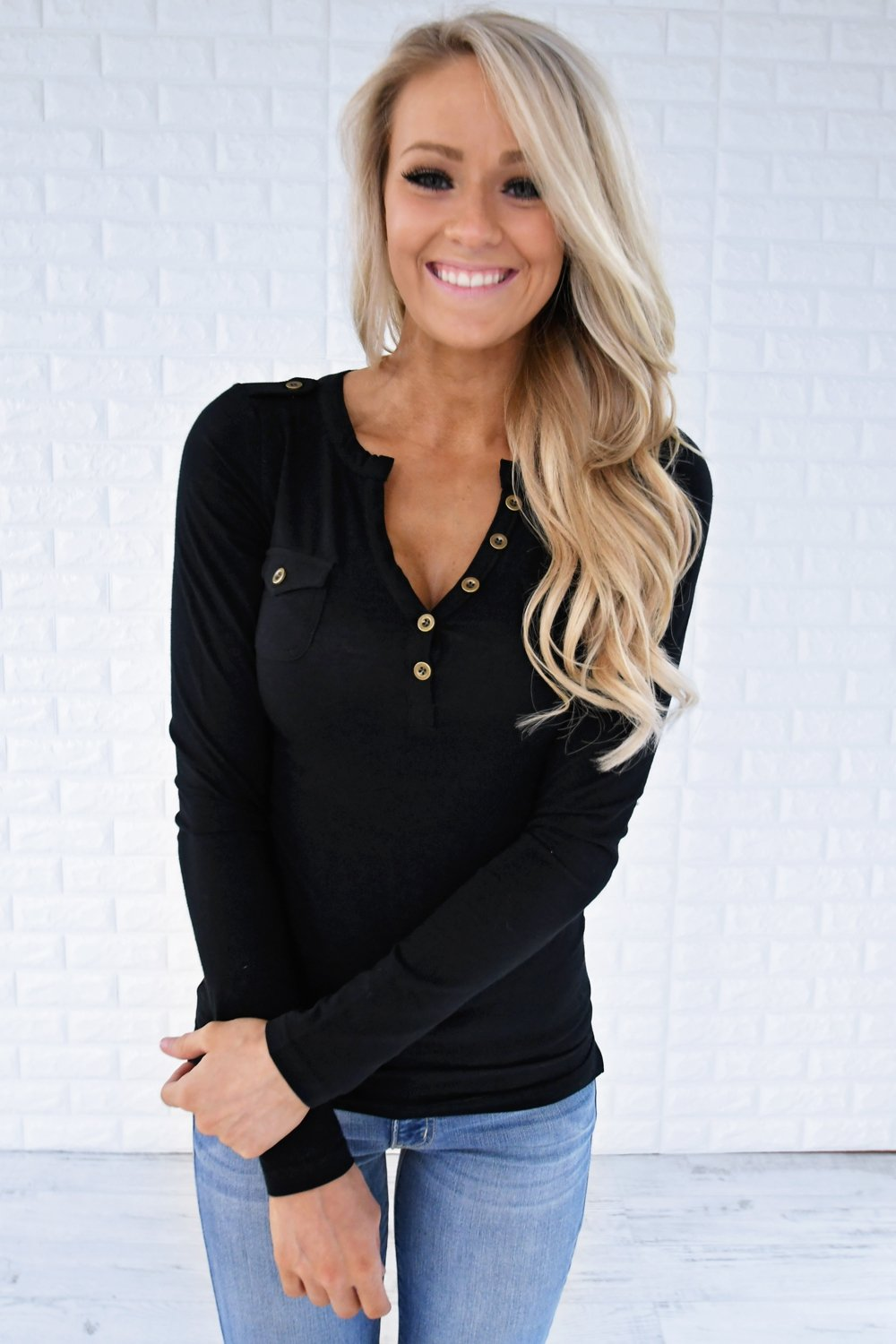 Button Top - Black