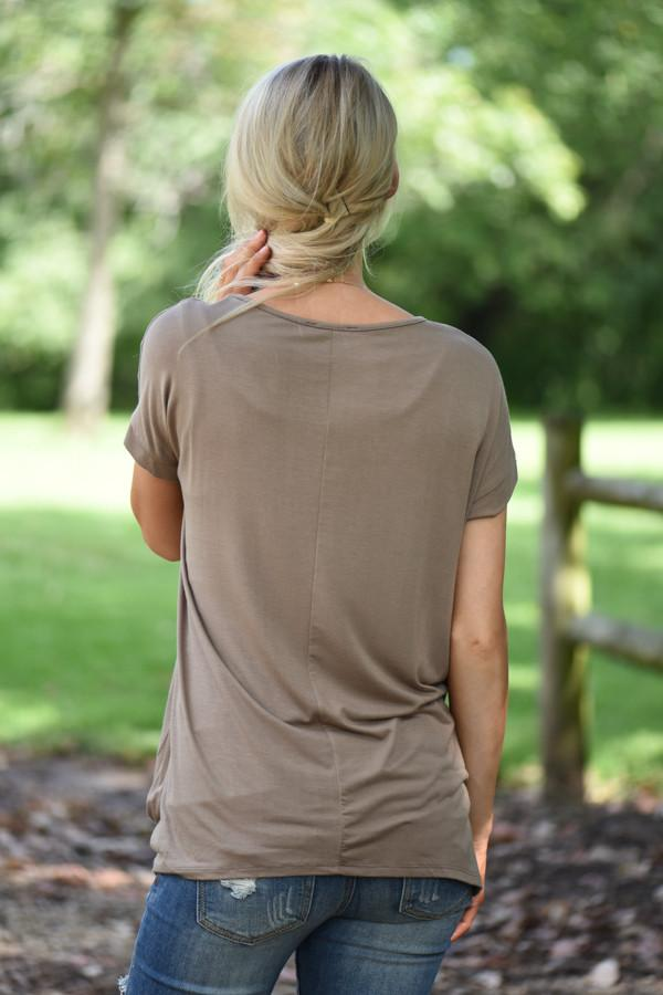 Dark Taupe Knot Top