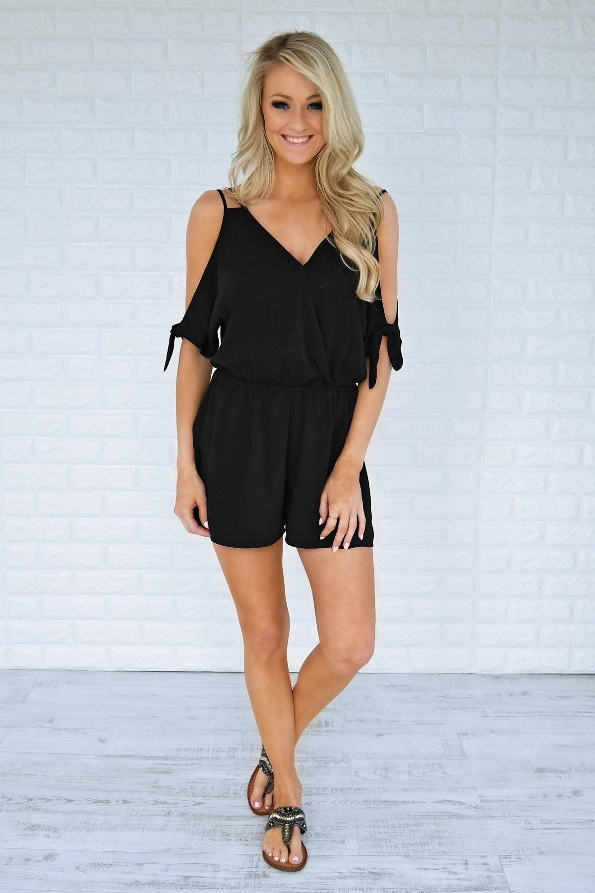 Solid Black Off the Shoulder Romper