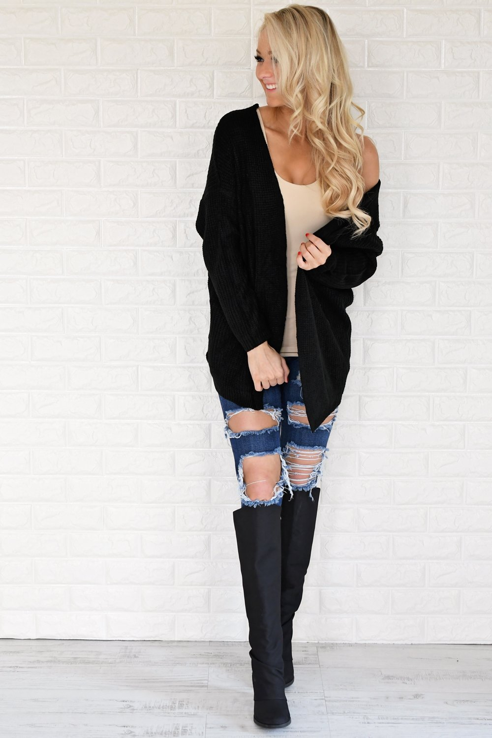 Black Knit Lace Up Cardigan