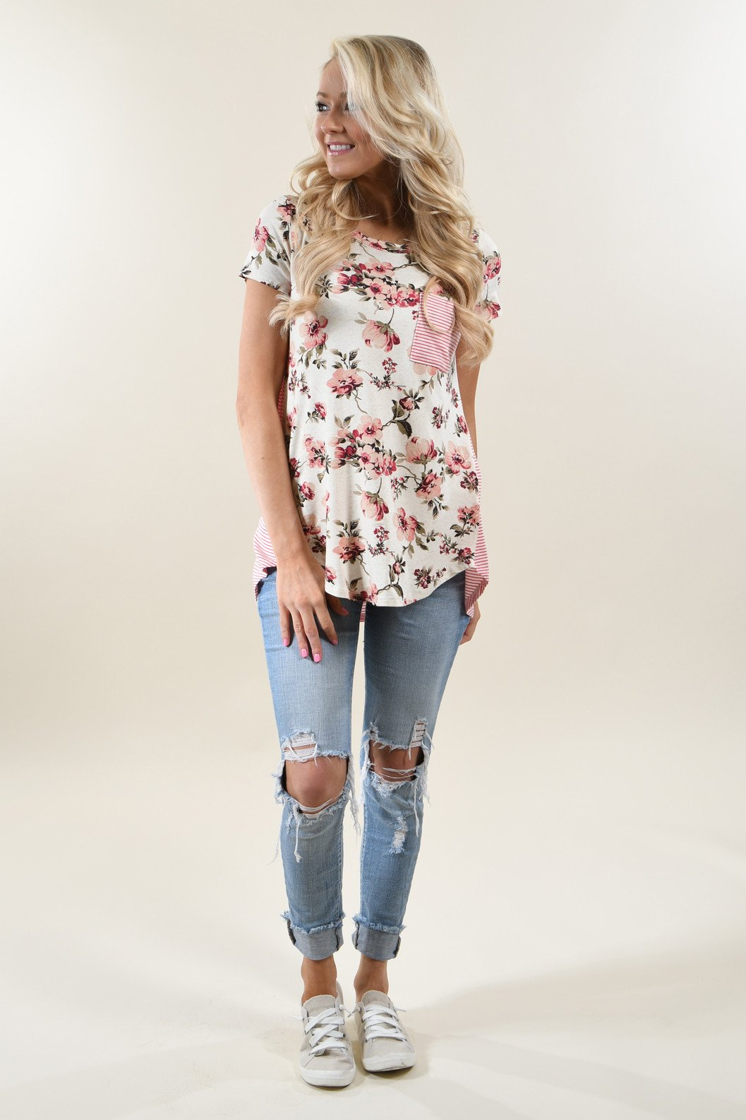 Strawberry Floral & Stripes Top