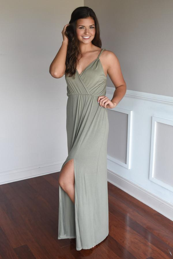 A Little Mischievous Maxi Dress ~ Olive