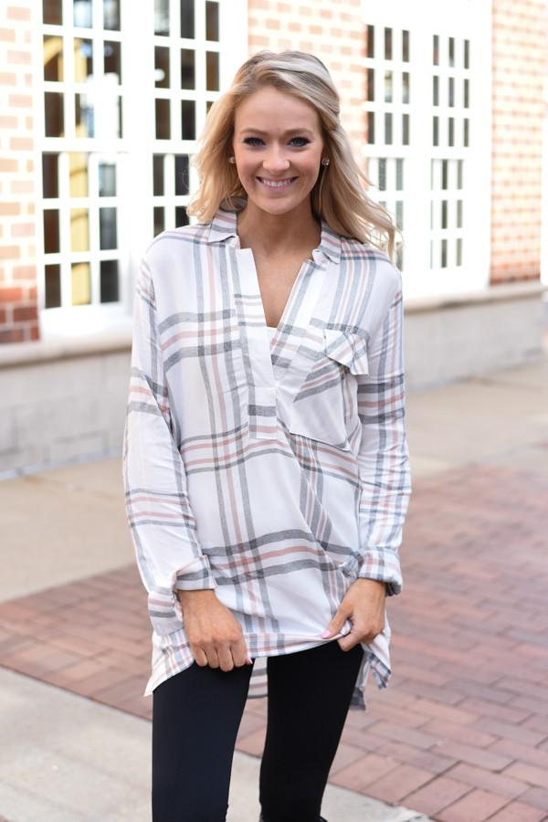 Ivory & Brown Plaid Top