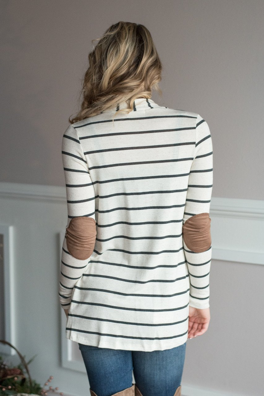 Charcoal Striped Elbow Patch Cardigan