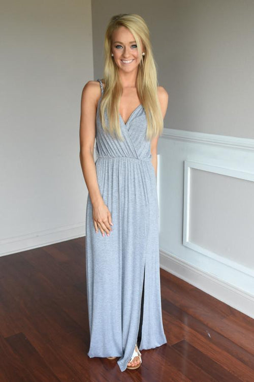 A Little Mischievous Maxi Dress ~ Grey