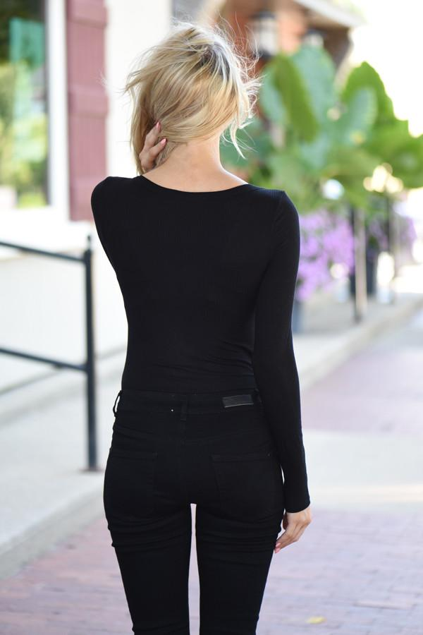 Black Snap Button Bodysuit