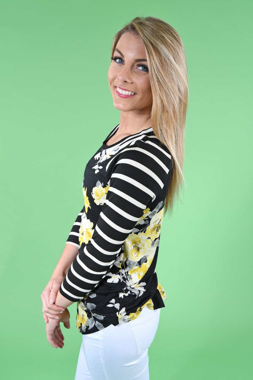 Black and Yellow Floral Top