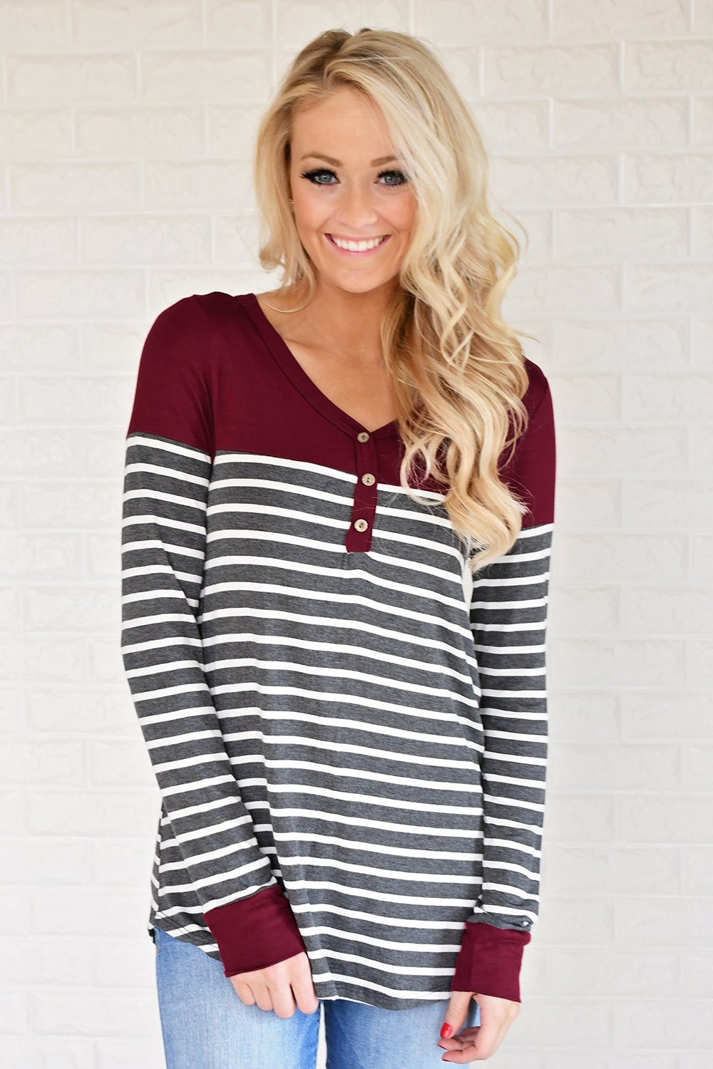 Go Your Own Way Striped Top ~ Burgundy & Grey