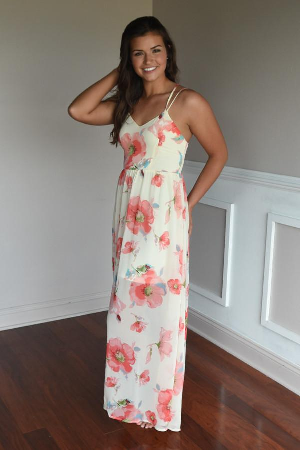 Among the Flowers Maxi Dress ~ Ivory