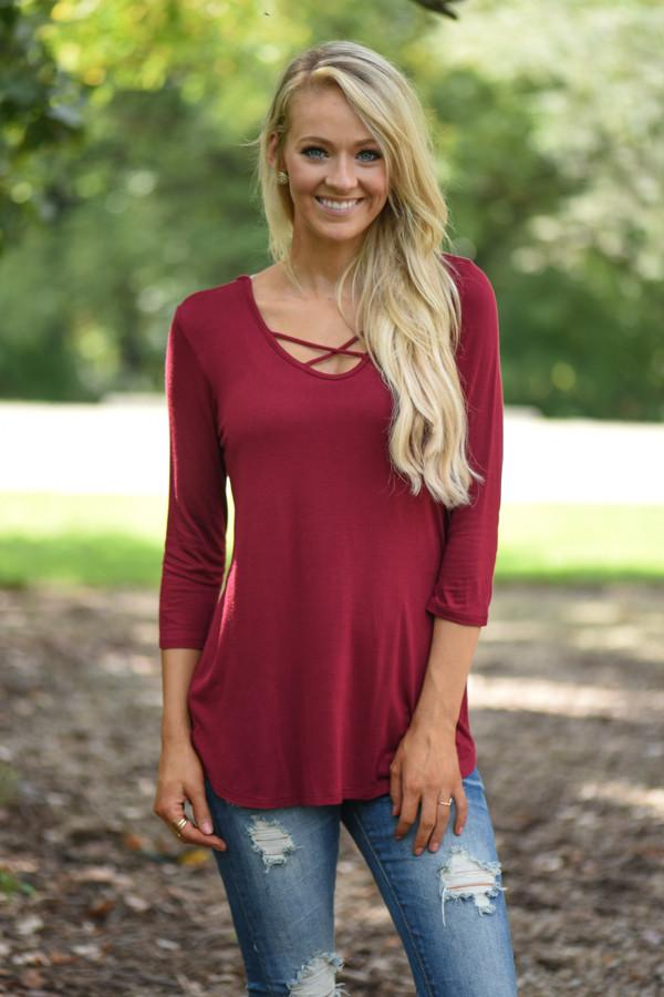 Criss Cross My Heart Top - Burgundy